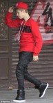 Justin's trousers fall down in public